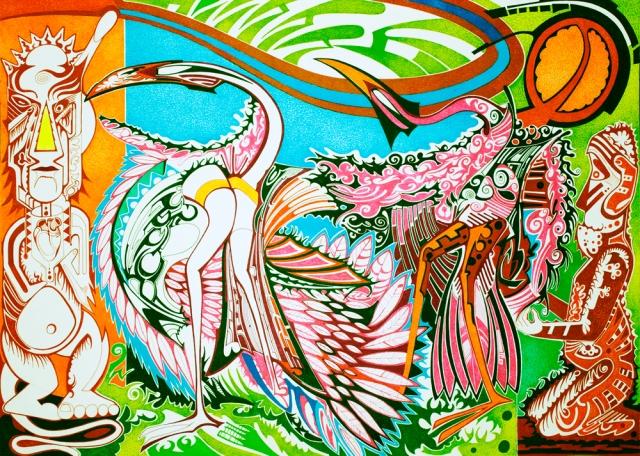 Flamingo-unter-der-Sonne