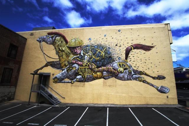 """StreetArt Neuseeland, Pixelpancho """"Riding Dreams"""", Foto: Pixelpancho"""